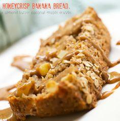 Honeycrisp Banana Bread Loaf + almond butter coco-maple drizzle from Happy. Vegan Treats, Vegan Foods, Vegan Desserts, Vegan Recipes, Cooking Recipes, Apple Recipes, Apple Banana Bread, Apple Loaf, Honeycrisp Apples