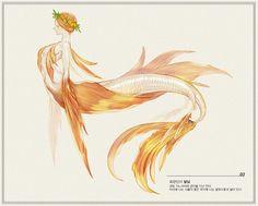 Ocean Creatures, Magical Creatures, Fantasy Creatures, Fantasy Character Design, Character Design Inspiration, Character Art, Mermaid Boy, M Anime, Creature Drawings