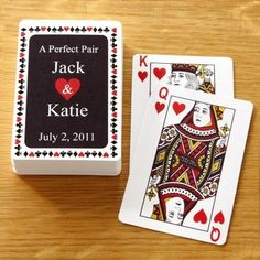 This would be cool for guests to take home. Customize the cards of our names and pics on the king an queen :) it would go great with the Alice theme