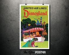 1960 United Air Lines - The Official Airline To Disneyland Vintage Travel Poster // High Quality Fine Art Reproduction Giclée Print by TheRetroPoster on Etsy