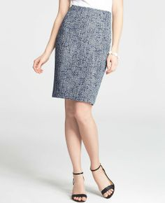navy and white tweed pencil skirt