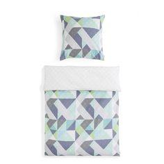 Moderne Bettwäsche mit geometrischem Muster, mint, grau, grün, blau