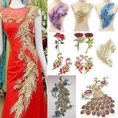 Peacock Colourful Sequin Embroidered Lace Applique Motif Sewing Patch
