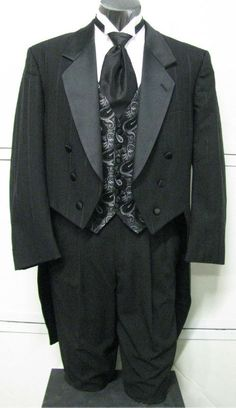 Black stripe tuxedo jacket with tails. Possibly for the groomsmen or groom :)