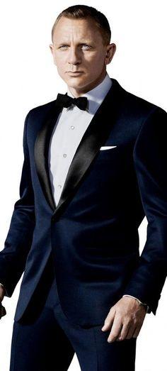 "Dark Blue Tuxedo Inspired By Suit Worn In James Bond ""Skyfall"" | Celebrity Suit Shop #JamesBondIsAll"