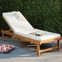 Brayden Studio Matheny Reclining Chaise Lounge with Cushion Color: Teak Brown / Beige Pool Lounge Chairs, Patio Chaise Lounge, Patio Chairs, Lounge Cushions, Chaise Lounges, Desk Chairs, Side Chairs, Dining Chairs, Teak Furniture