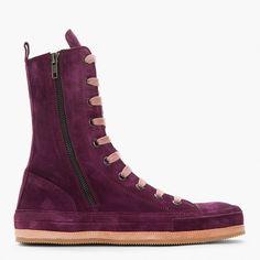 Vivid Purple Suede Zipper Hi-Top sneaker boots - Ann Demeulemeester