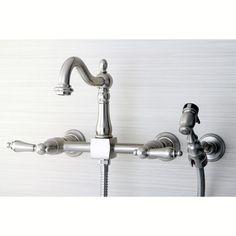 Kingston Brass Kingston Brass Heritage Wall Mount Kitchen Faucet with Brass Sprayer Finish: Satin nickel