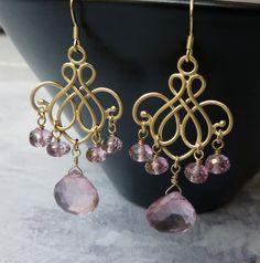 Pink topaz chandelier earrings