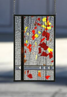 AUTUMN-Abstract Stained Glass Window Panel by gallerydelsol