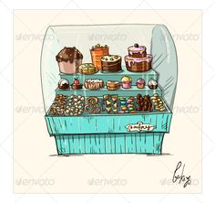 Hand drawn counter with bakery. Shopwindow with pastry illustration. vector EPS 10. Fully editable.