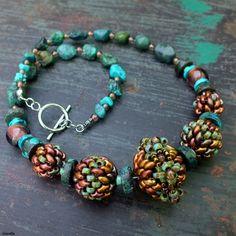 """""""Old God"""" necklace - Superduo, Matubo, turquoise beads"""
