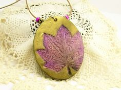 Autumn Leaf Pendant Necklace, Pink Brown Gold Pendant, Fun Jewelry, Art Jewelry, Affordable Handmade Polymer Clay Jewelry by BobblesByCarol, $24.00 USD