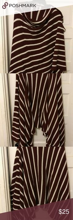 Stripe Shaw Have it your way Shaw wrap shoulder to shoulder one up one down or just leave both sides down beautifully striped and nice cotton material not to heavy fits anyone real roomy deep rasberry and white Jackets & Coats Capes