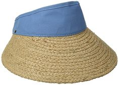 Scala Women's Raffia Visor Dyed Cotton Crown Hat, M Blue, One Size - http://todays-shopping.xyz/2016/08/07/scala-womens-raffia-visor-dyed-cotton-crown-hat-m-blue-one-size/
