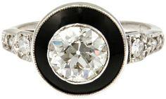 Art Deco Diamond Black Ename... - Polyvore