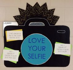 Love your selfie event! We're going to get our residents to take selfies, and learn how to be confident about them. Then we will have a gallery of the photos, and they will write positive comments about what they like about each other's selfies. resident advisor / resident assistant / RA bulletin board