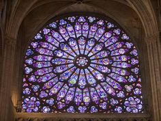 beautiful rose window: Interior of Notre Dame Cathedral, Paris, France Cathedral Windows, Church Windows, Monuments, Statues, Art Roman, Rose Window, Amiens, Stained Glass Windows, Leaded Glass