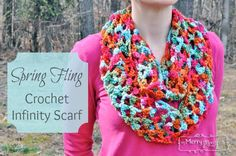 Spring Fling Crochet Infinity Scarf - Free Crochet Pattern for a Lightweight Cool Weather Scarf