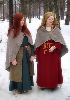 winter girls by Antalika.deviantart.com on @deviantART  Warm Slavic costumes in the Viking Age