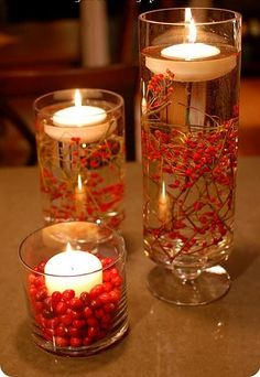 Twigs and Berries in Vases