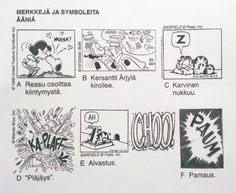 Sarjakuva - äänimerkkejä, symboleita (taustaa). Bullet Journal, Cartoon, Writing, Comics, School, Cartoons, Being A Writer, Comic, Comics And Cartoons
