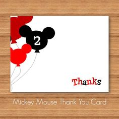 Mickey Mouse Thank you Card Printable DIY by SteliePrintables ...