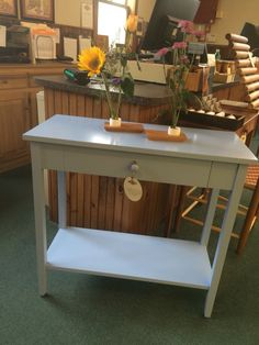 Our Maple Cottage Hall Table, Windy Sky Paint. Chilton Furniture, Freeport,  ME