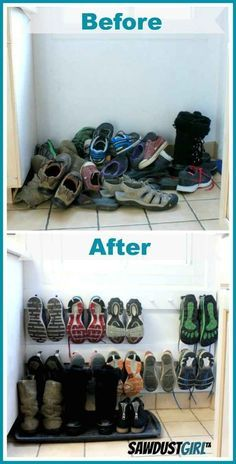 A coat rack hung low on the wall makes a space-saving shoe rack.