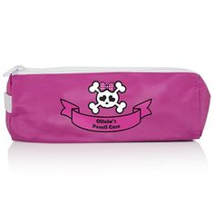 Personalised Girls Skull and Cross Bone Pink Pencil Case  from Personalised Gifts Shop - ONLY £7.99