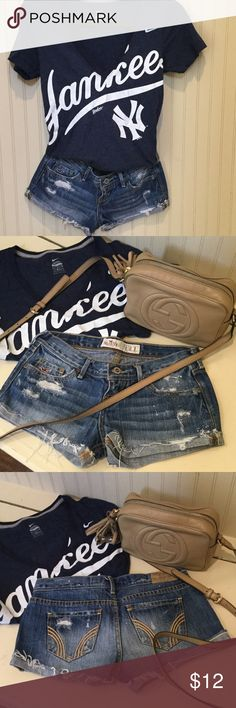 Sassy, Hollister cut off Jean shorts!  Like new! Sassy, Hollister cut off Jean shorts!  Like new!  Cute with your favorite sports-T or dressed up with a cute off the shoulder top, either way you can't go wrong!  Yankees T-shirt not for sale! Hollister Shorts Jean Shorts