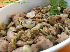 Salteado de salchichas frescas y champiñones al ajillo con Thermomix