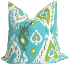 TurquoiseGreen and Ivory  Ikat Decorative Pillow by KLineDeco