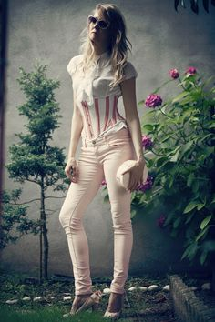 Corset and jeans