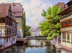 Купить или заказать 'Прогулки по старому городу' в интернет-магазине на Ярмарке Мастеров. Маленький городок во Франции,так и просится на бумагу или холст.