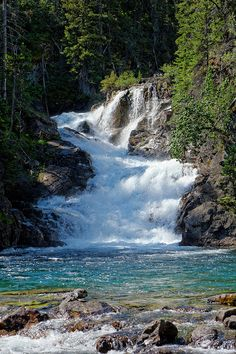 Gros Ventre Falls, Glacier National Park, Montana; photo by .John and Jean Strother