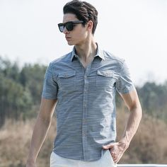 Pioneer Camp Summer Style Striped Shirt Men 100% Cotton Camisa Slim Fit Brand Clothing Short Sleeve Men Shirt Twill 666213