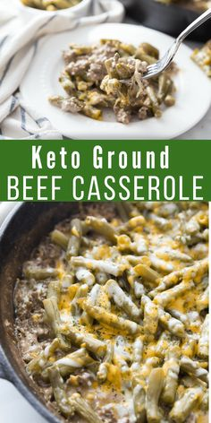 This Keto Ground Beef Casserole is the perfect comfort low carb meal. Easy to make and hearty, you'll love every single bite of this delicious simple keto recipe. #keto #lowcarb