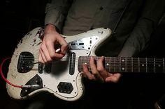 A Place to Bury Strangers' Oliver Ackermann's road worn Fender Jaguar w lipstick pickups