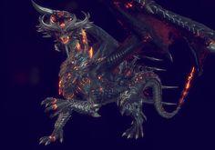 Creatures 3, Fantasy Creatures, Fantasy Monster, Monster Art, Devaint Art, Legendary Dragons, Evil Art, Cool Dragons, Dragon Artwork