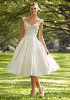 Knee Length Off the Shoulder A line Taffeta With Ruching Trendy Wedding Dress - 1300103382B - US$199.99 - BellasDress