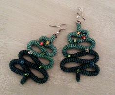 Crochet Tube Christmas Tree Earrings Christmas by vanessahandmade