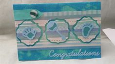Here is a congratulations card I made for my best friend for the arrival of their lovely little Kenny. Made using my sapphire machine. With distress ink background, spellbinders sentiment die and XCut baby dies. Then finished with teal ribbon and pearl green button.