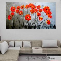 """Original deep gallery canvas Abstract  modern 48"""" palette knife signature Red Poppies impasto painting by Nicolette Vaughan Horner"""