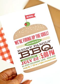 "BBQ Invitation // Party Invitation via Etsy.  What a fun invitation! I love how everything fits inside the bun with the necessary font sizes wherever applicable (for ex. ""BBQ"" is HUGE) The color scheme is also very fitting"