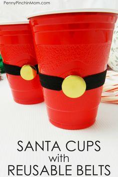 DIY Santa Cups with Reusable Belts (Money Saving Idea) Christmas On A Budget, Christmas Art, All Things Christmas, Christmas Decorations, Christmas 2016, Christmas Ideas, Xmas, Diy Craft Projects, Fun Crafts