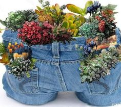 Cute idea for old jeans!  Southern Life Beautiful ~ By Sherry Godsey Cates
