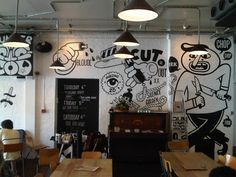 The Book Club, London Metal pipe electrical ceiling