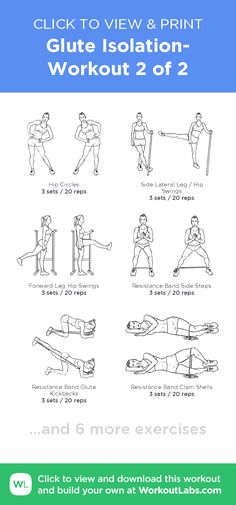 Glute Isolation- Workout 2 of 2 · WorkoutLabs Fit Home Exercise Program, Home Exercise Routines, At Home Workout Plan, Workout Programs, At Home Workouts, Glute Isolation Workout, Glute Workouts, Upper Glute Exercises, Glute Activation Exercises