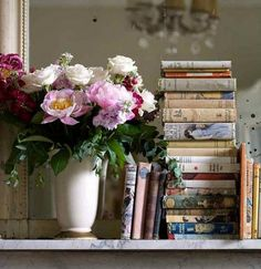 Beautiful blooms and stacks of wonderful books